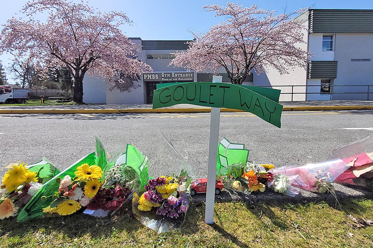 A small memorial to Rich Goulet at Pitt Meadows secondary. (Neil Corbett/The News)