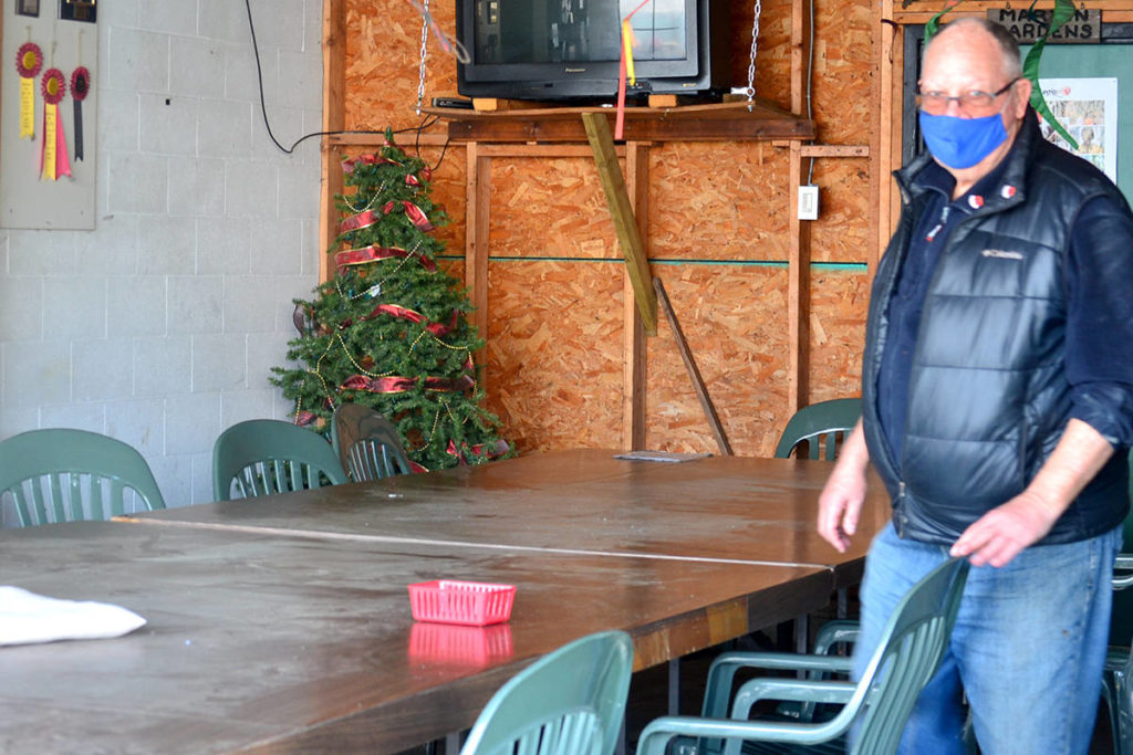 Legion branch 265 president Doug Hadley shows off a sheltered patio area where food service can continue via outdoor dining. (Ryan Uytdewilligen/Aldergrove Star)