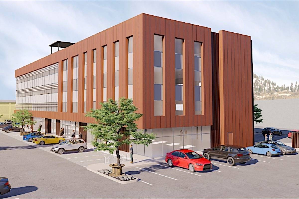 Artist's rendering of The Exchange, a mass timber commercial-industrial-office project in Kelowna to be completed in late 2023. (Faction Projects Inc.)