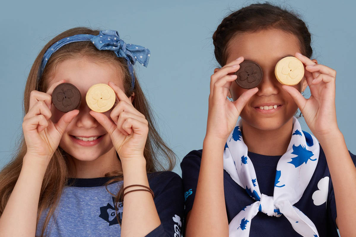 Boxes of chocolate and vanilla Girl Guide cookies are being sold online and at London Drugs this year. (Girl Guides of Canada photo)