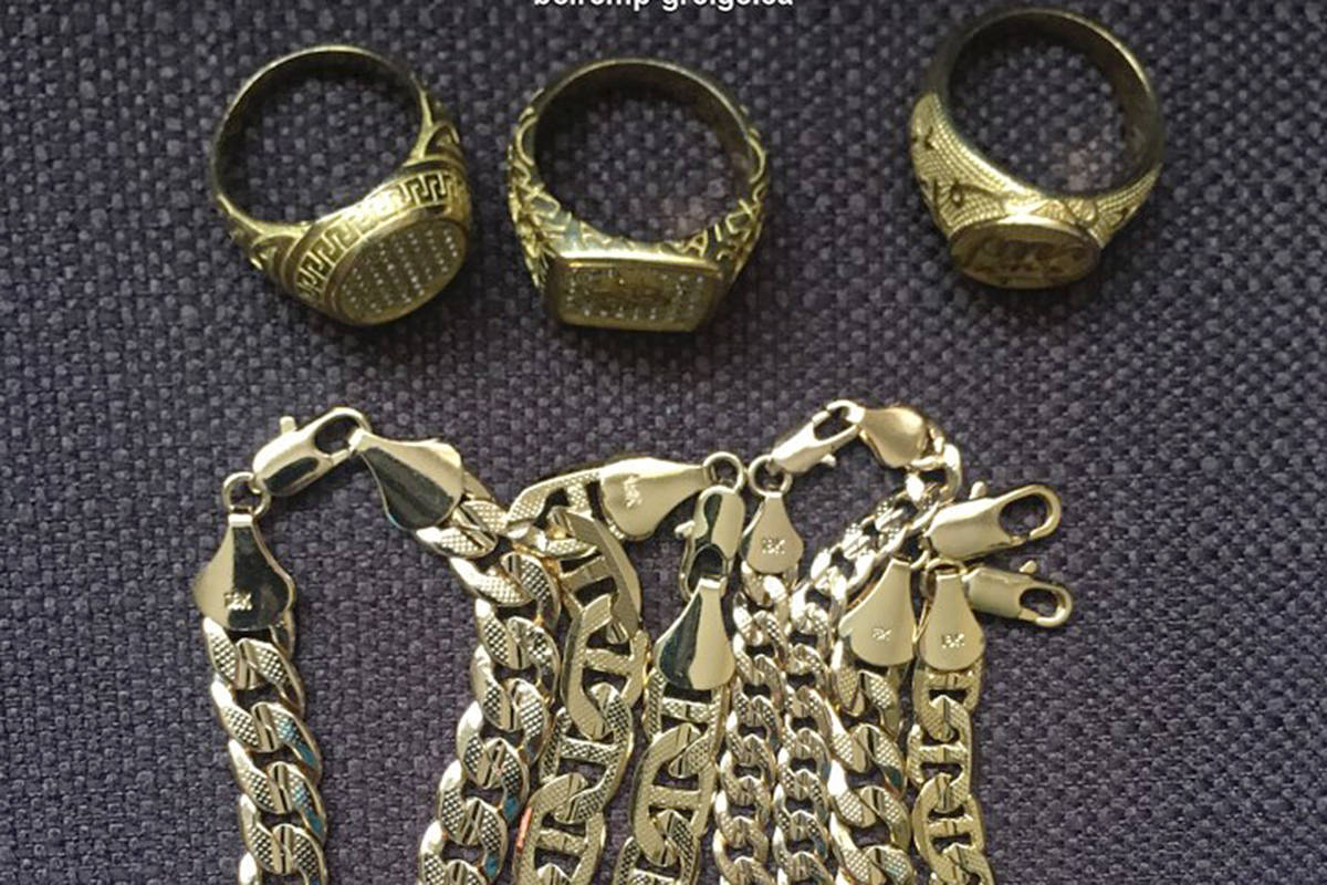 Some of the fake gold sold by con artists in B.C. An Ontario man has been charged in connection with a Langley incident (RCMP)