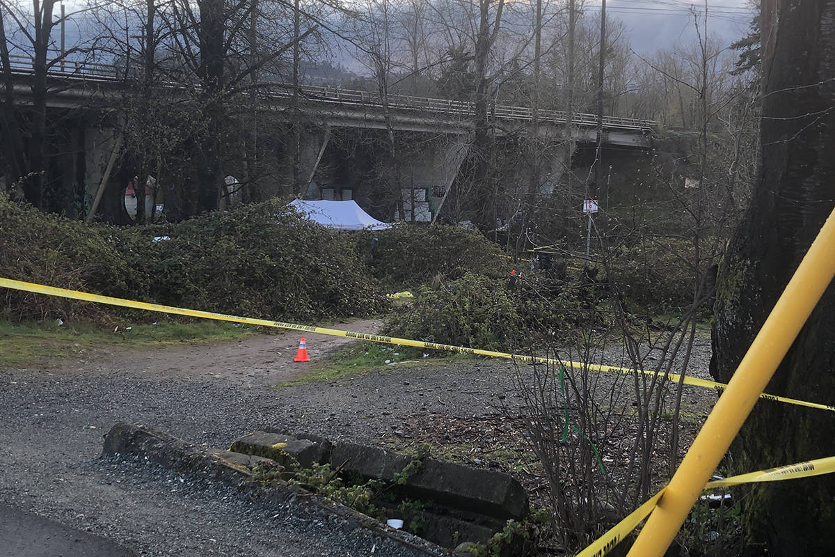 The homeless camp covers a wide area, stretching to both sides of the tracks. The stabbing appears to have occurred on the west side of the tracks. Patrick Penner / Abbotsford News.