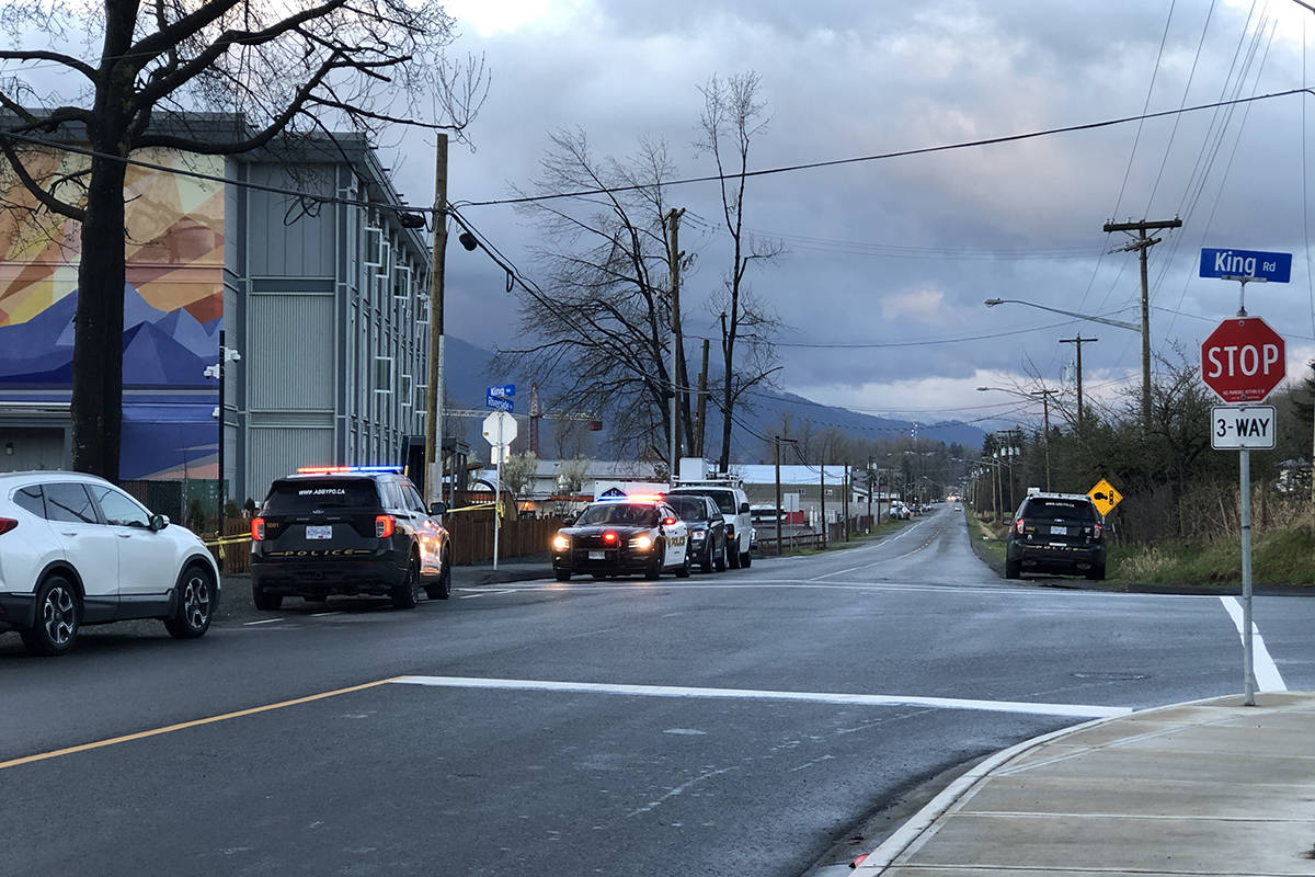 At least seven police vehicle remained on scene by 7 a.m. this morning. Patrick Penner / Abbotsford News.