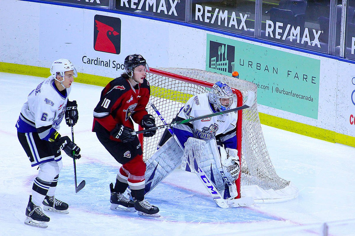 Justin Sourdif and Bryce Bader each had three points and Trent Miner now has the longest stretch of shutout hockey in franchise history for the G-Men. (Paige Bednorz/Special to Black Press Media)