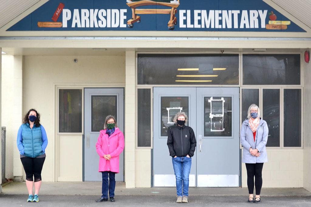 Sarah Mast, Marsha Wilson, Sara, and Lisa Fisher donated food to Parkside through the Zoe Leadership Program at Living Waters Church. (Ryan Uytdewilligen/Aldergrove Star)
