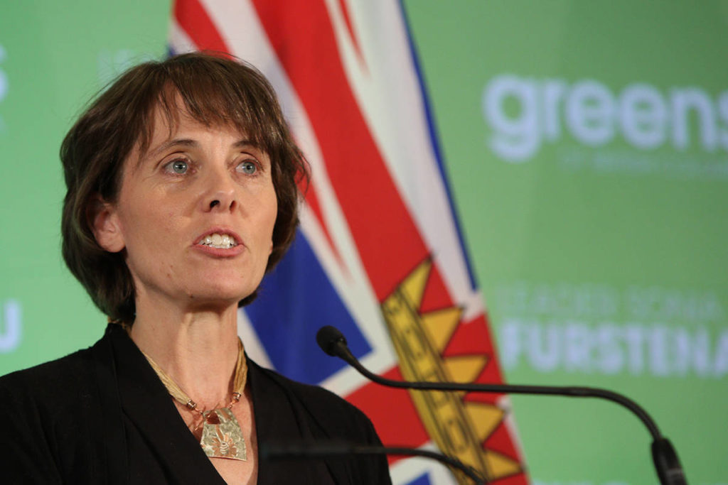 BC Green Party Leader Sonia Furstenau delivers her speech after being re-elected during a press conference at the Delta Victoria Ocean Pointe Resort in Victoria, Saturday, Oct. 24, 2020. THE CANADIAN PRESS/Chad Hipolito