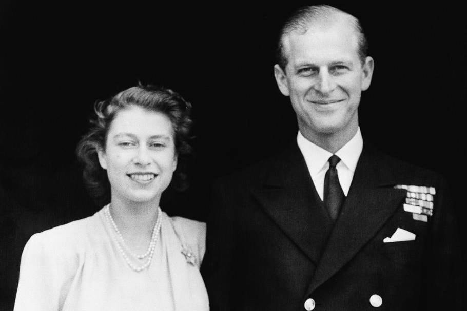 FILE - This file photo dated July 10, 1947 shows the official photograph of Britain's Princess Elizabeth and her fiance, Lieut. Philip Mountbatten in London. Buckingham Palace says Prince Philip, husband of Queen Elizabeth II, has died aged 99. (AP Photo/File)