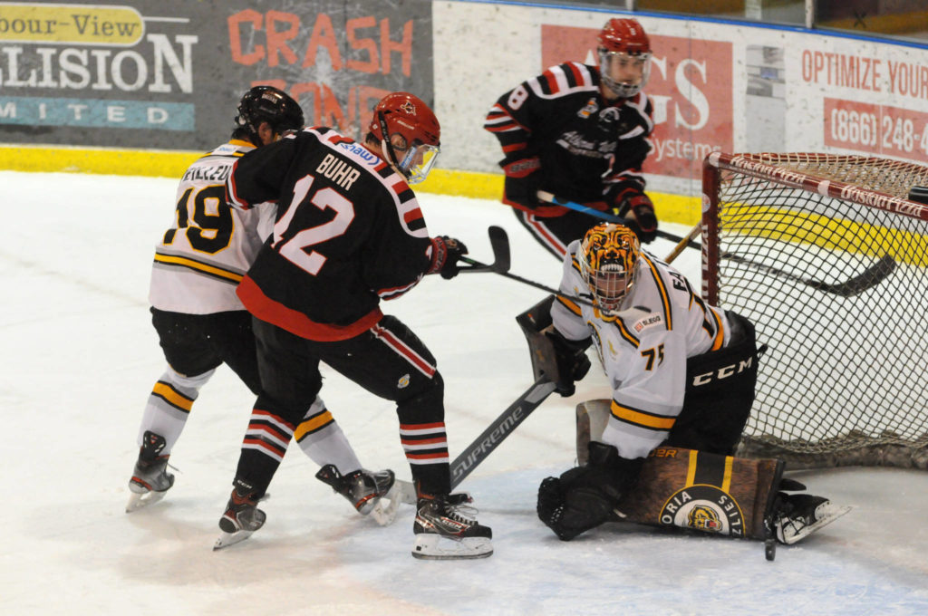 Alberni Valley's Brandon Buhr narrowly misses scoring his second goal of the Bulldogs' BC Hockey League game against Victoria Grizzlies in the first period Friday, April 2, 2021. (SUSAN QUINN/ Alberni Valley News)