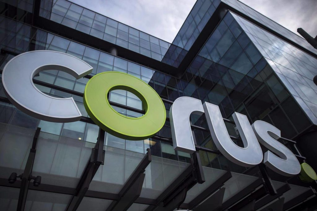 The new Corus logo at Corus Quay in Toronto is photographed on Friday, June 22, 2018. THE CANADIAN PRESS/ Tijana Martin