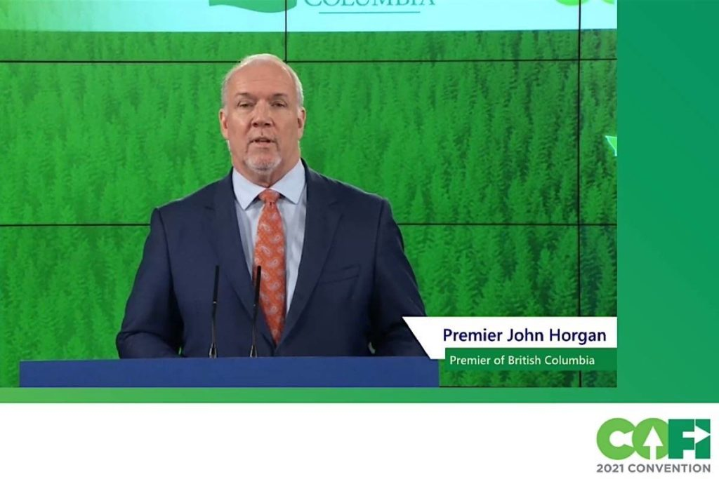 B.C. Premier John Horgan speaks by video link to the annual Council of Forest Industries convention, April 8, 2021. (COFI video)