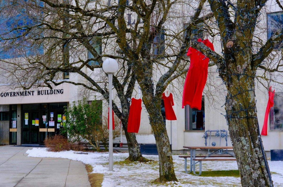 Red dresses hang in the trees outside Nelson City Hall to remind us about missing and murdered Indigenous women. The REDress Project, created by the Winnipeg Métis artist Jaime Black, also exists as an exhibit in the Touchstones gallery, running until May 29. Photo: Bill Metcalfe