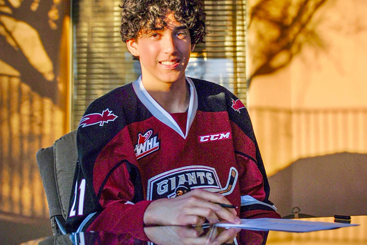 Jaden Lipinski has signed to the Langley-based Vancouver Giants, and is expected to start next season. (Lipinski Family/Special to Black Press Media)