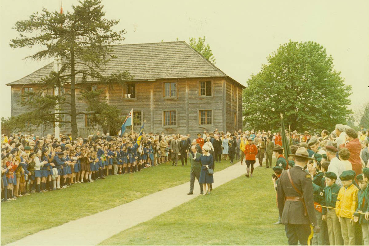 The royals – Queen Elizabeth II, Prince Philip, and their daughter Princess Anne – visited the Fort Langley National Historic Site during their visit in spring 1971. (For Langley National Historic Site files/Special to Langley Advance Times)