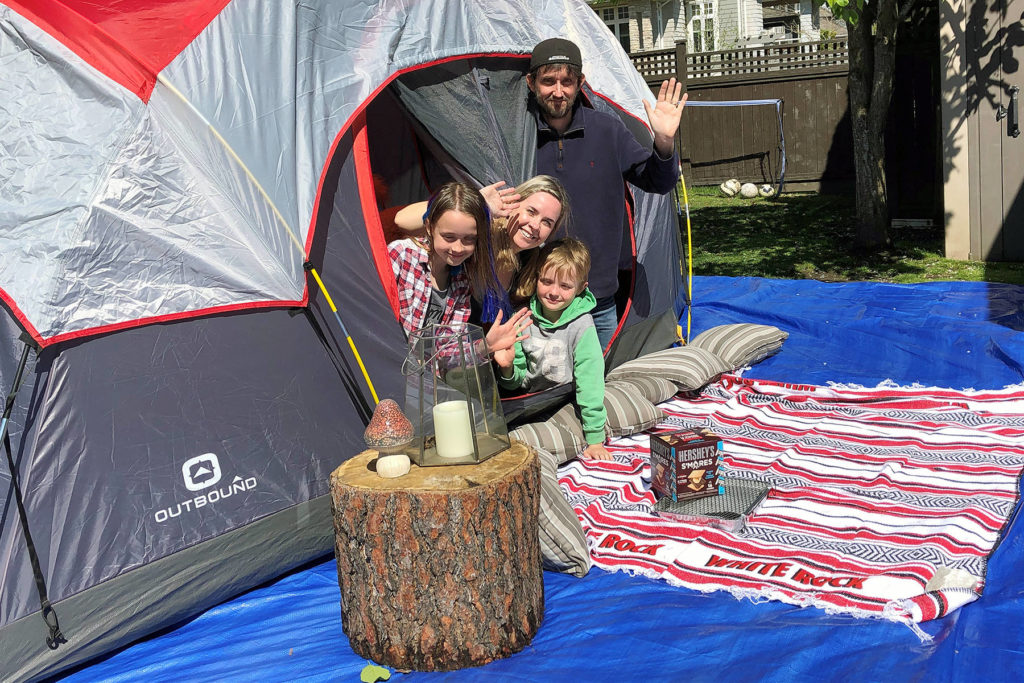 South Surrey's Kelly Tarry and her family participate in the inaugural BC Stay-at-Home Campout on April 25. The event was so successful, a second one is planned for May 16. (Contributed photo)