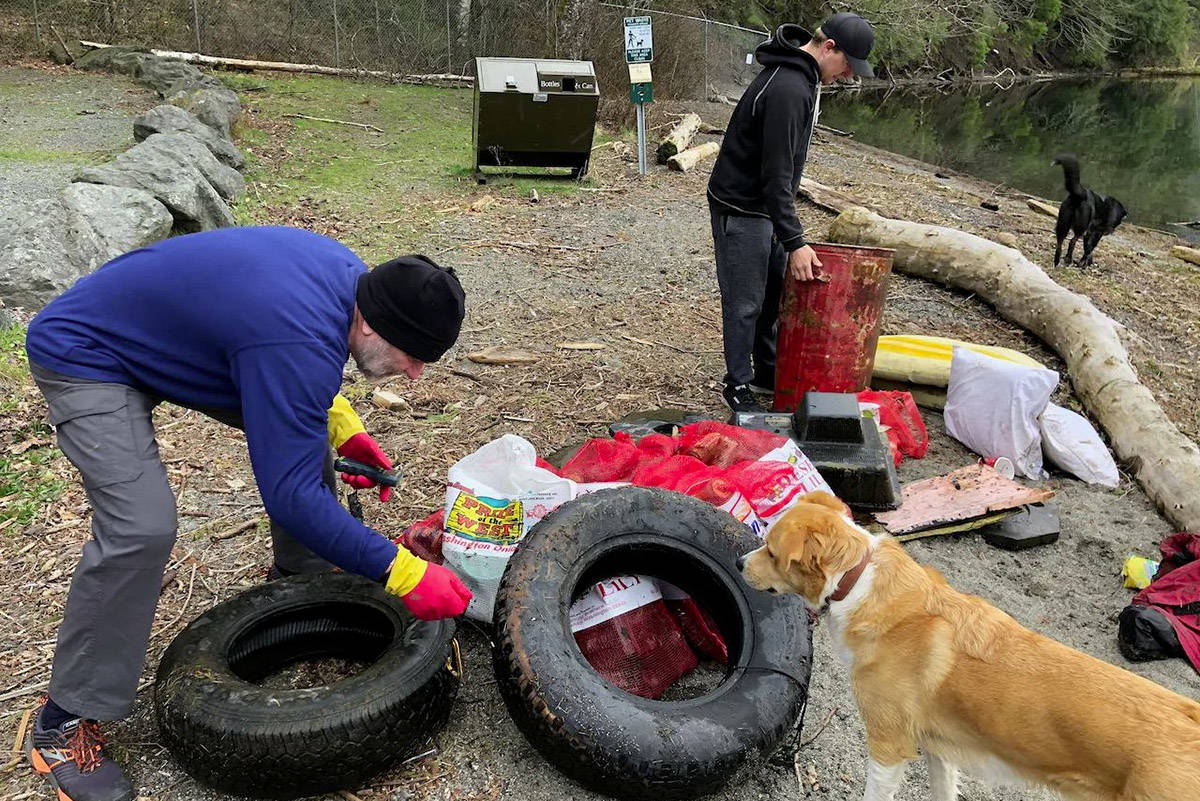 Four members with Divers for Cleaner Lakes and Oceans were out at Cultus Lake on March 28 and 29 hauling trash out of the waters. (Henry Wang)