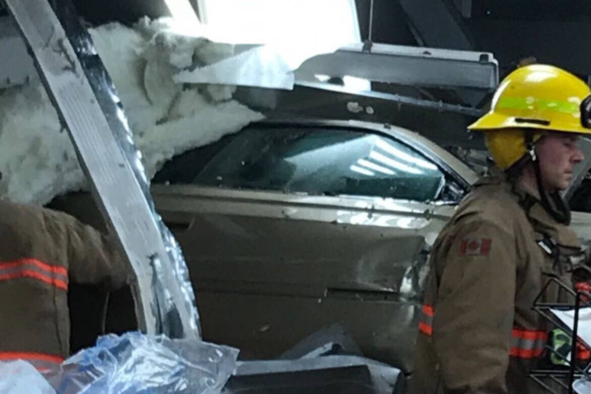 Saanich Fire Department on the scene after a car crashed into the Walmart in Uptown. (Saanich Fire Department photo)