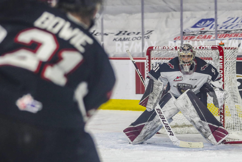 Vancouver Giants goalie Trent Miner saw his lengthy shutout streak in the net come to an end in a 6-3 loss against Prince George on Saturday, April 10. (Allen Douglas/Special to the Langley Advance Times)