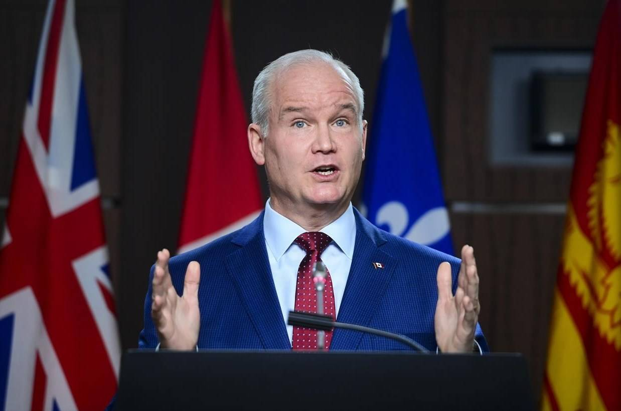 Conservative leader Erin O'Toole holds a press conference on Parliament Hill in Ottawa on Tuesday, April 6, 2020. Top Tory leaders of past and present will speak with supporters today about what a conservative economic recovery from COVID-19 could look like. THE CANADIAN PRESS/Sean Kilpatrick