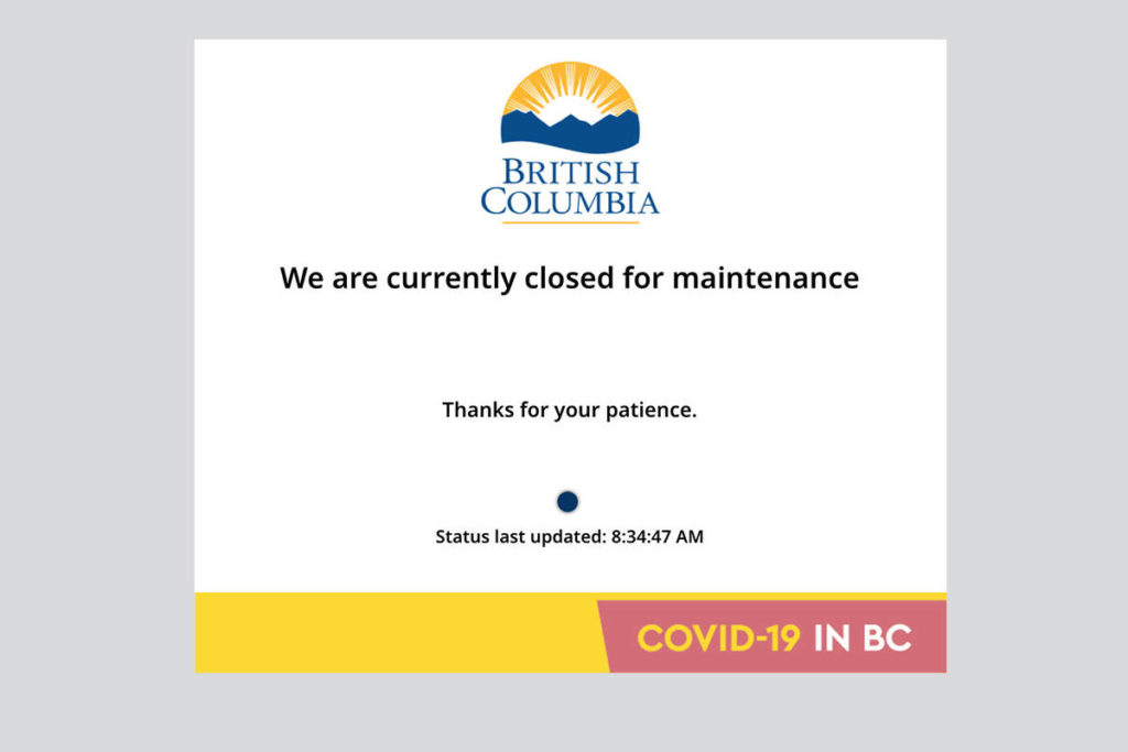 B.C.'s COVID-19 vaccine booking website appears to be down as of the morning of Monday, April 12, 2021. (Black Press Media)