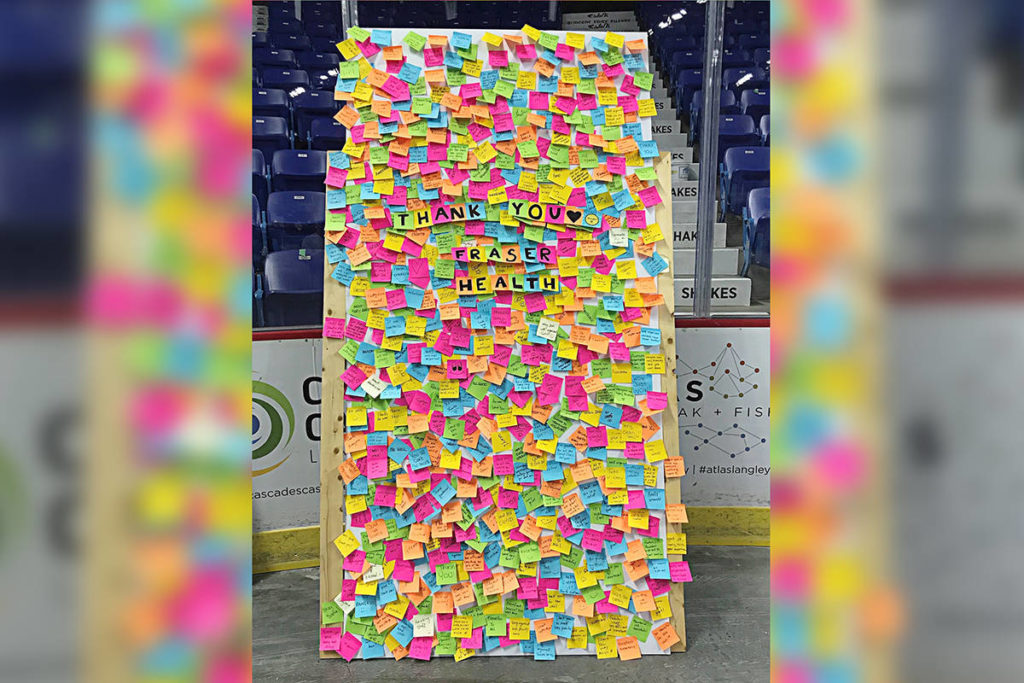 People have been leaving Post-It note messages for staff at the COVID-19 vaccination clinic in the Langley Events Centre. (Fraser Health Tweet)