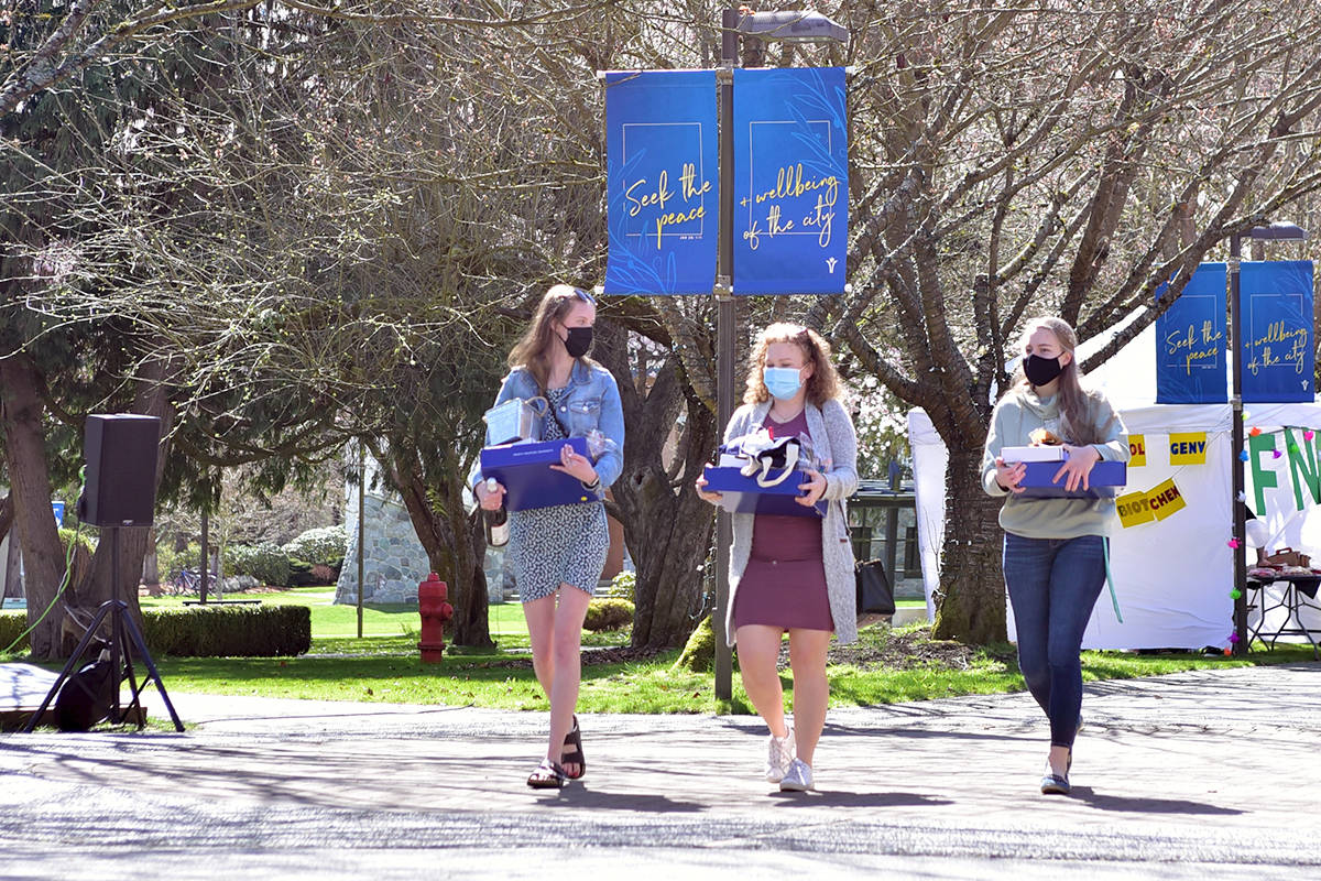 Trinity Western University's Student Association organized a celebration parade for graduating students Saturday, April 10, 2021. (Trinity Western University/Special to the Langley Advance Times)