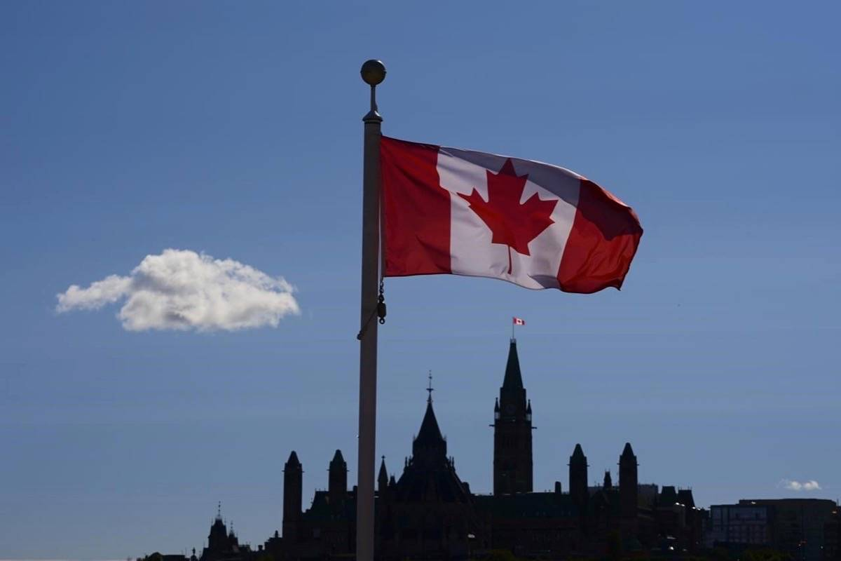 Parliament Hill is viewed below a Canada flag in Gatineau, Quebec, Friday, Sept. 18, 2020. A new poll suggests most Canadians are feeling more grateful for what they have in 2020 as a result of COVID-19 pandemic.THE CANADIAN PRESS/Sean Kilpatrick