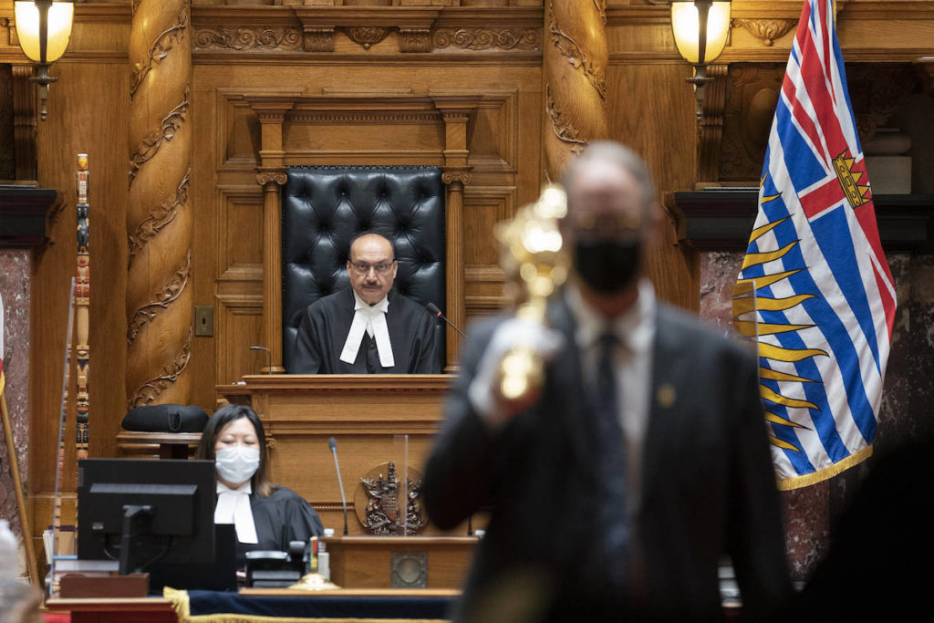 Burnaby MLA Raj Chouhan presides as Speaker of the B.C. legislature, which opened it spring session April 12 with a speech from the throne. THE CANADIAN PRESS