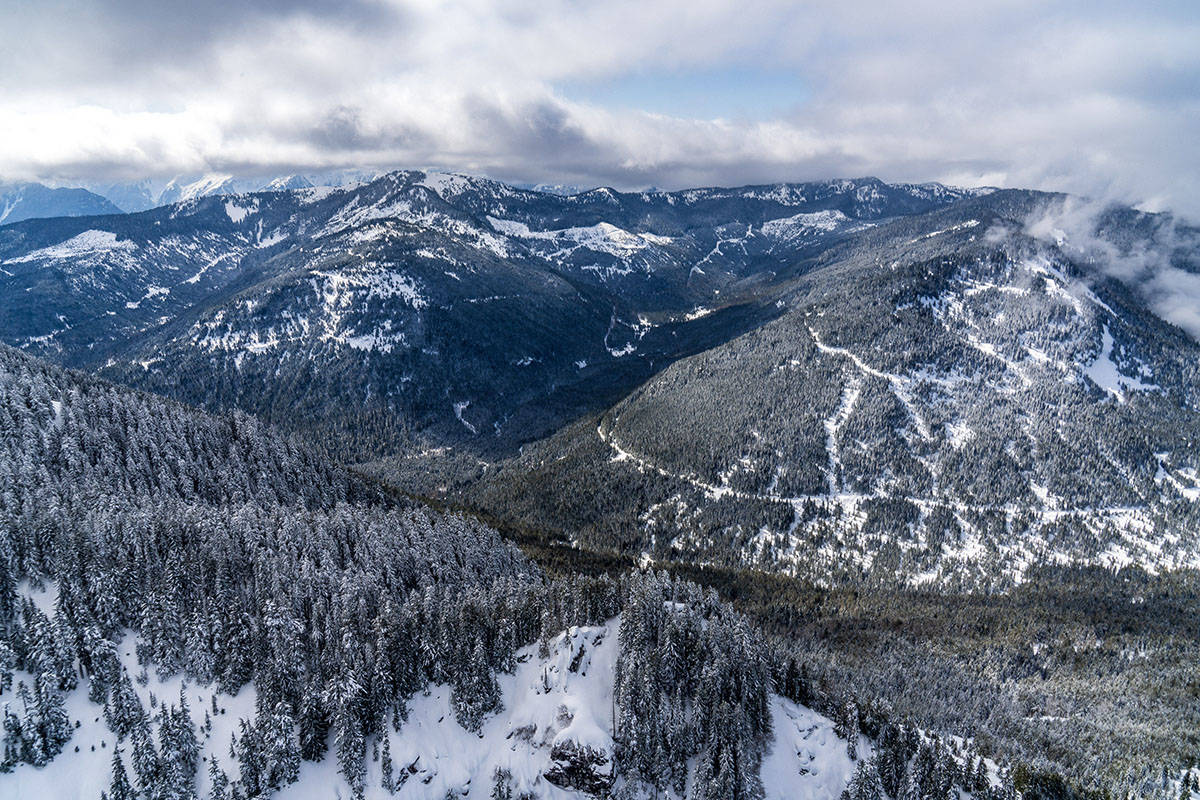 View looking south from Mt. Archibald, taking in the proposed ski terrain of Bridal Veil Mountain Resort, with Mt. Mercer (centre left) and Mt. Thurston (centre right, shrouded in cloud).