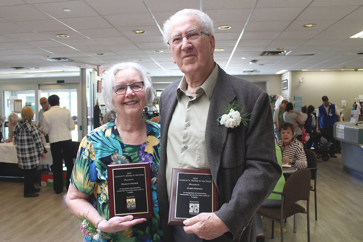 In 2018, Marilyn Fischer and Jim Simning were named Langley Seniors of the Year. This year's volunteer appreciation banquet has been put on pause due to COVID-19 restrictions. (Langley Advance Times files)