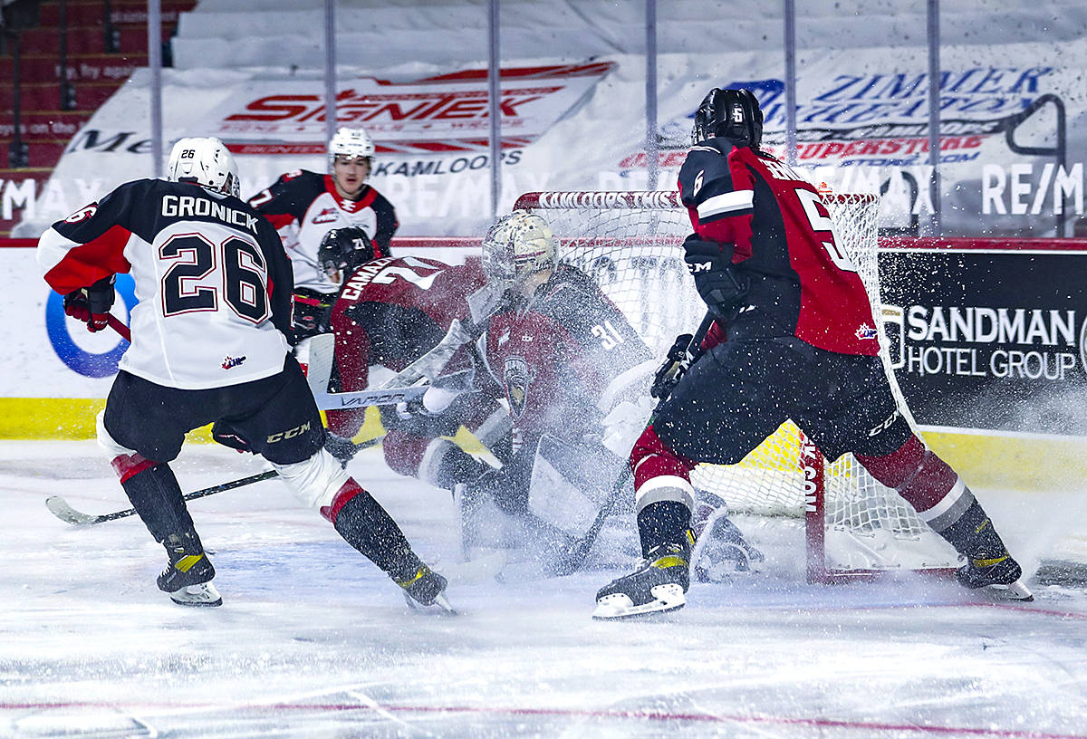Prince George Cougars triumph over the Langley-based Vancouver Giants Monday night, by the score of 4-1. That follows a similar defeat on Saturday by the same team. (Cougar's Allen Douglas/Special to Black Press Media)