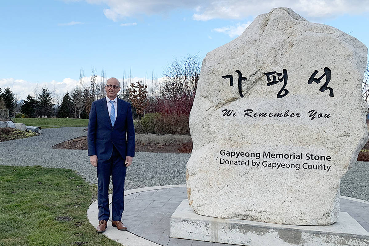 Langley-Aldergrove MP Tako van Popta will be at a ceremony marking 70 years since Canadian soldiers fought at the Battle of Kapyong, held at the Gapyeong Memorial in Langley's Derek Doubleday Arboretum on Friday, April 16. (Special to the Langley Advance Times)