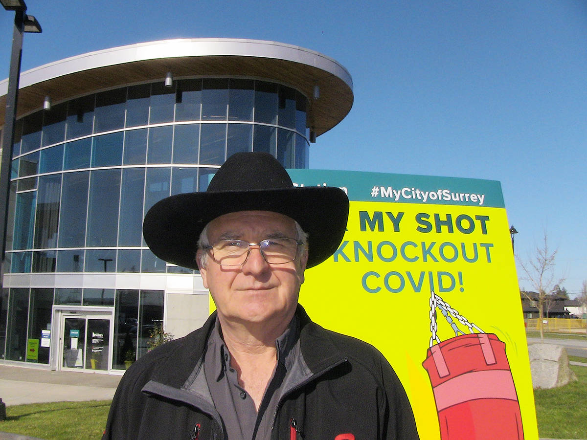 Shannon Claypool, president of the Cloverdale Rodeo & Exhibition Association, stands outside the Cloverdale Rec. Centre. The rec. centre has been set up as a mass vaccination site by Fraser Health and the Association has decided to cancel the rodeo in order to offer the fairgrounds for public parking. (Submitted)