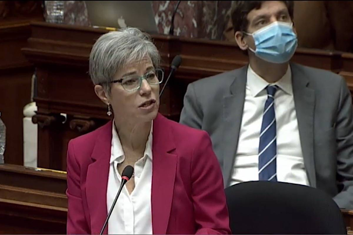 B.C. Finance Minister Selina Robinson speaks in the B.C. legislature, March 2, 2021. (Hansard TV)
