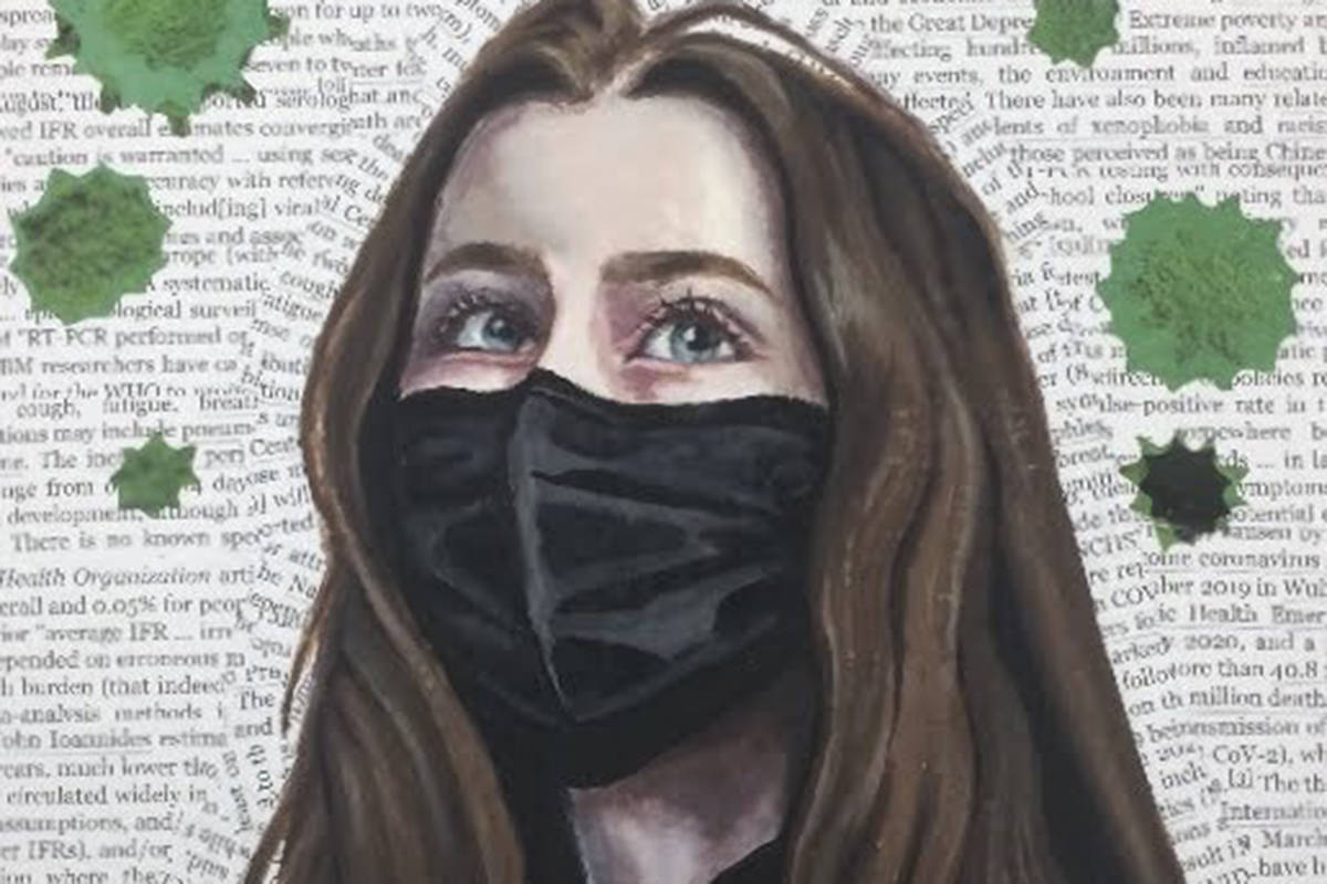 Walnut Grove Secondary Student Claire Dyment's artwork is a self portrait that focuses on the effects of the pandemic on pizza boxes with their most missed memory of before COVID painted on the inside. (Special to The Star)