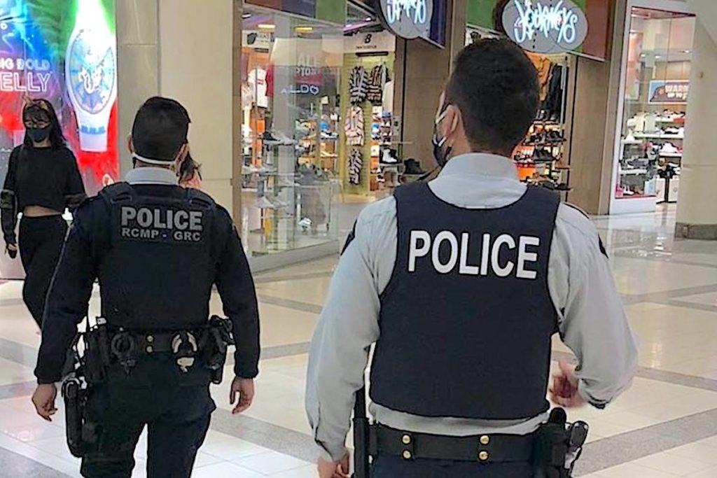 Of 46 arrests made between March 16 and 19 at Metrotown mall in Burnaby, 27 suspected shoplifters are now facing charges. (Twitter/Burnaby RCMP)