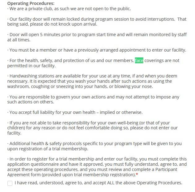 A screenshot of the operating procedures section of Flow Academy's now password-restricted online membership application form.