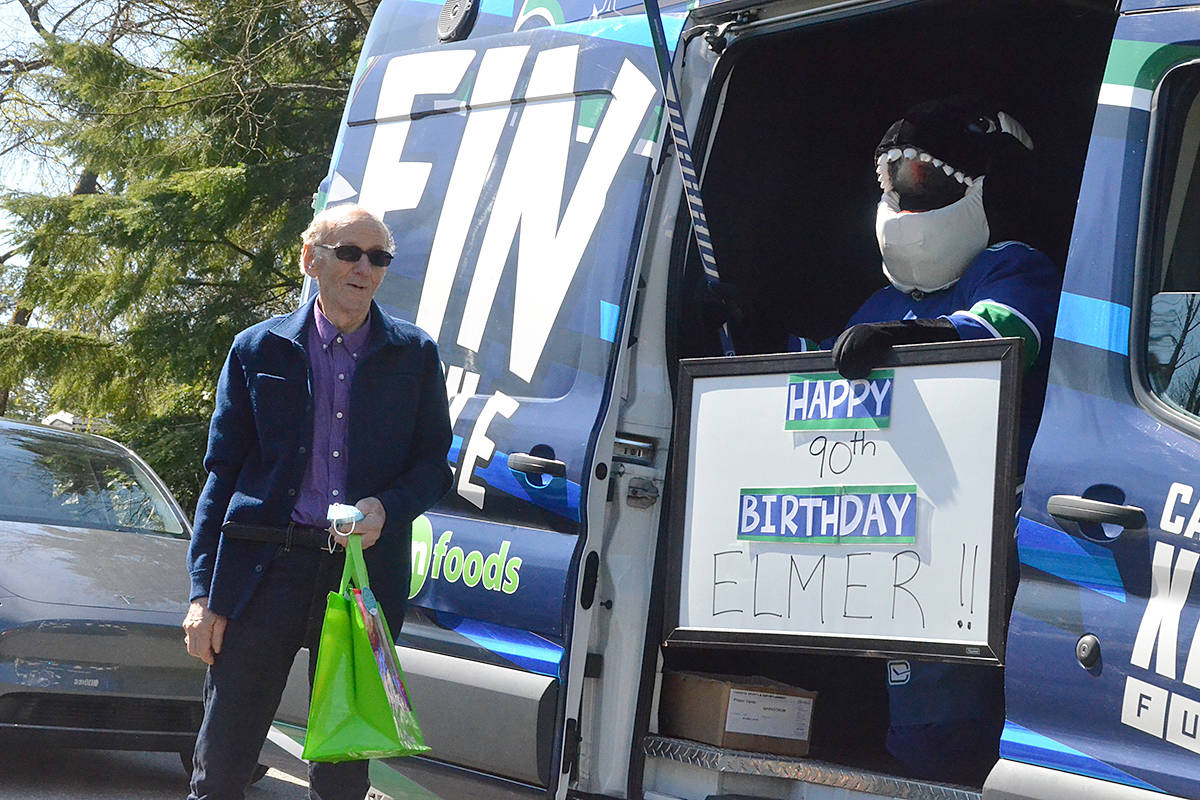Elmer Patzer, who turned 90 this week, celebrated a distanced birthday with a parade at his home. (Matthew Claxton/Langley Advance Times)