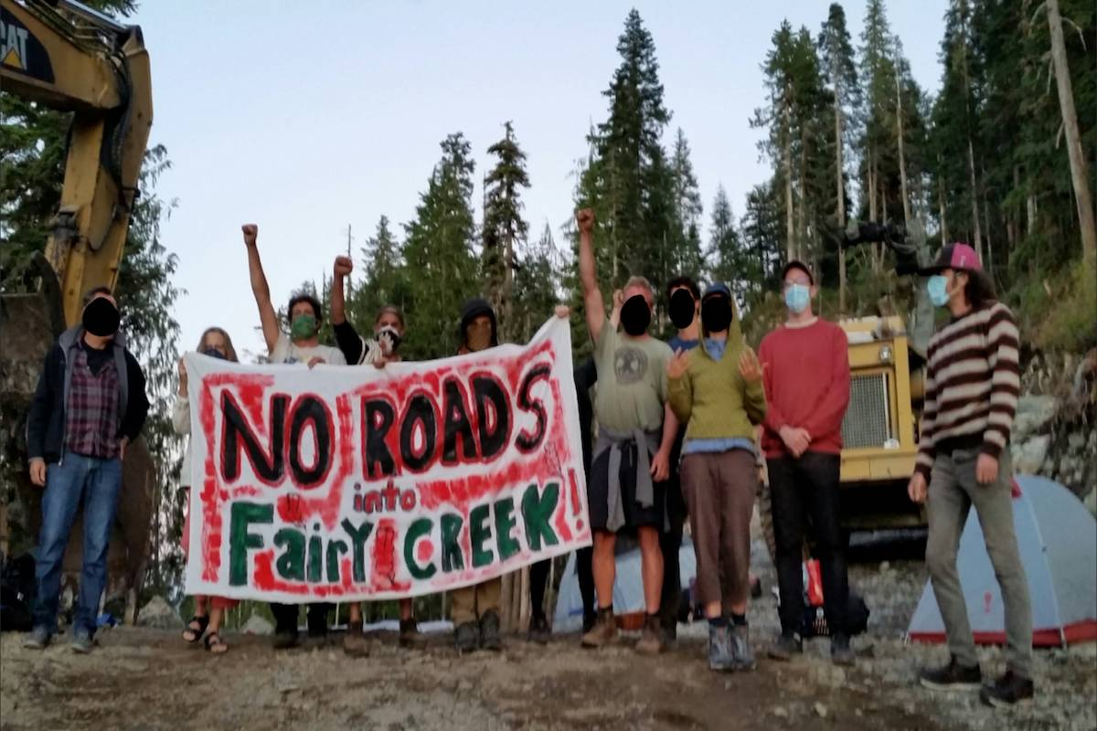 Protesters occupied a road leading to Fairy Creek Watershed near Port Renfrew. (Submitted photo)