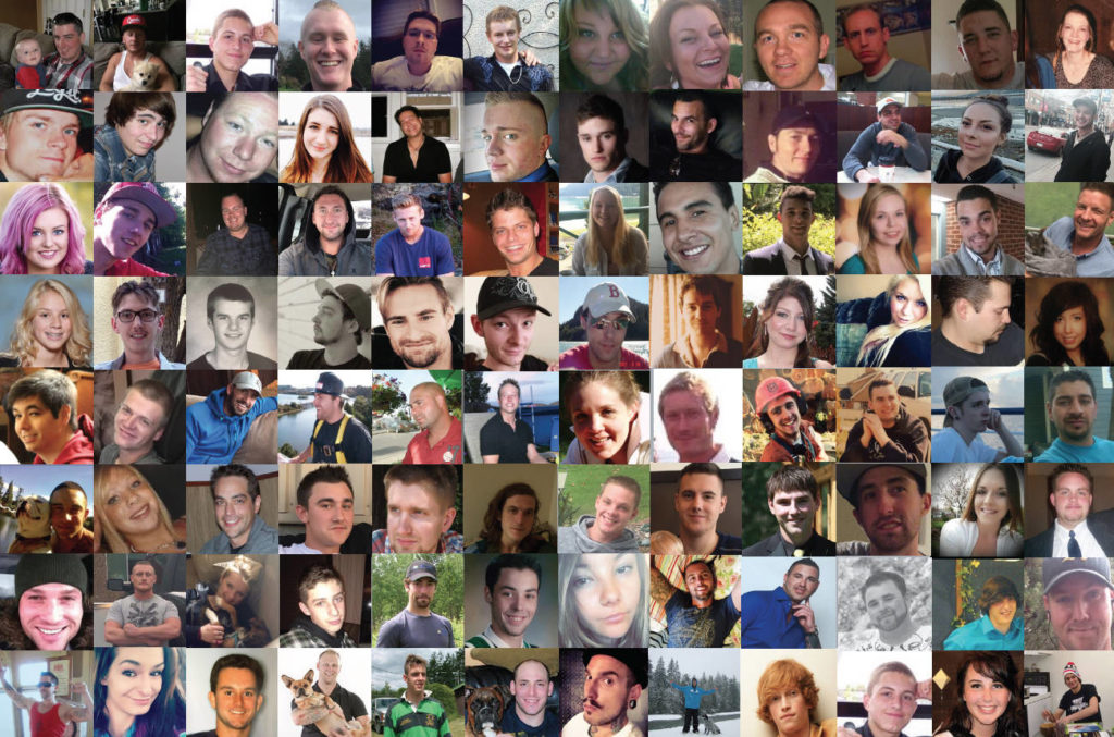 Photo collage of loved ones lost to substance use and overdose. (Photo courtesy Moms Stop The Harm)