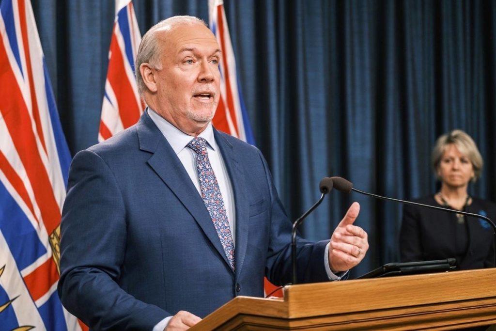 B.C. Premier John Horgan speaks at the B.C. legislature. (B.C. government)