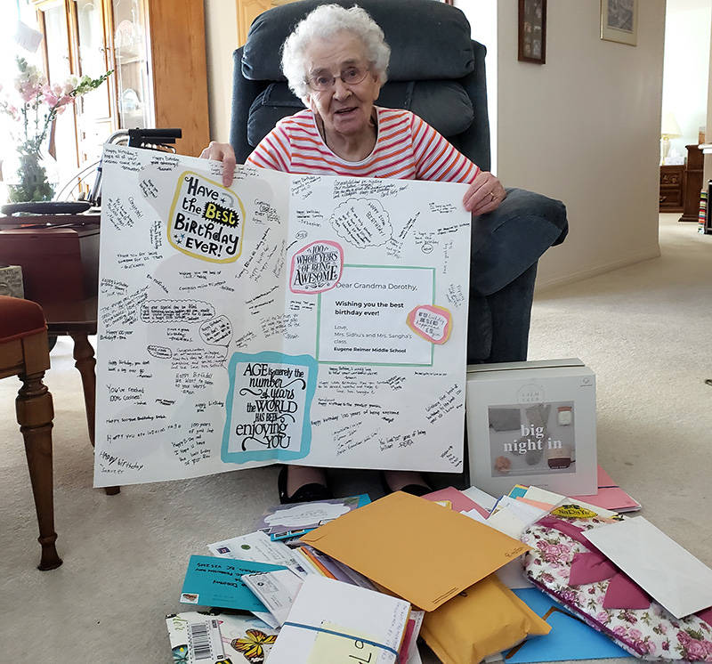 Dorothy Agnew of Abbotsford received more than 600 cards from the public for her recent 100th birthday. (Submitted photo)