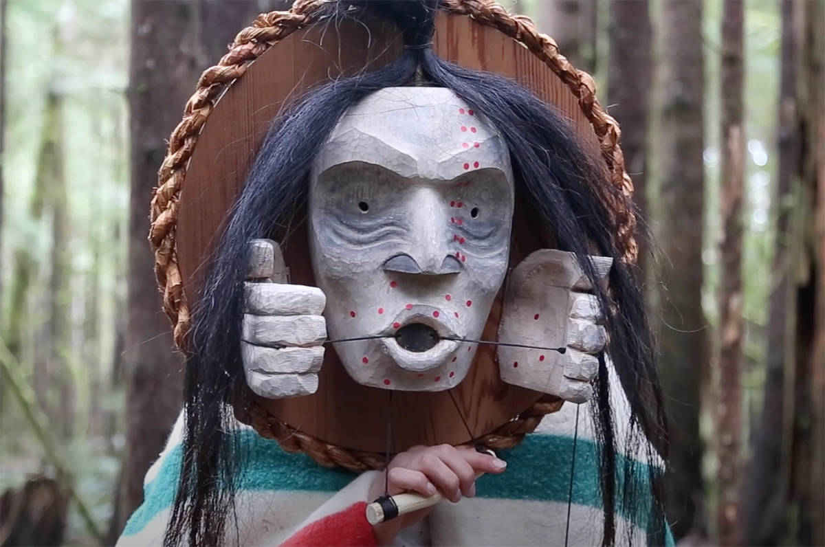 A screenshot from a Nuu-chah-nulth healing song and performance created in collaboration between Hjalmer Wenstob and Timmy Masso. (Screenshot from YouTube)