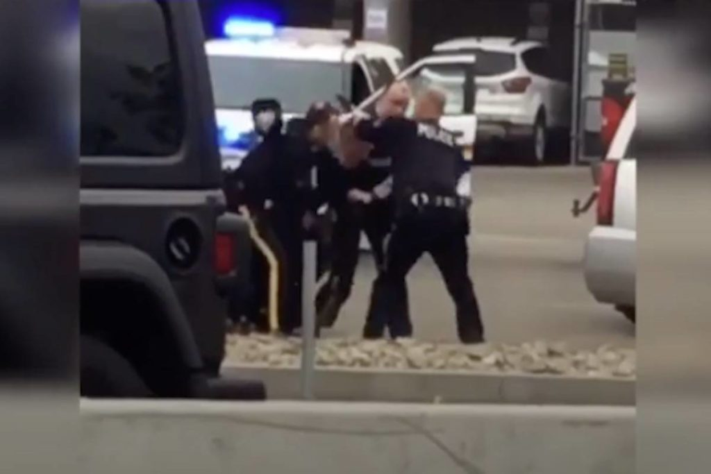 A still from the video taken of a violent arrest on May 30, 2020 in downtown Kelowna. (File)
