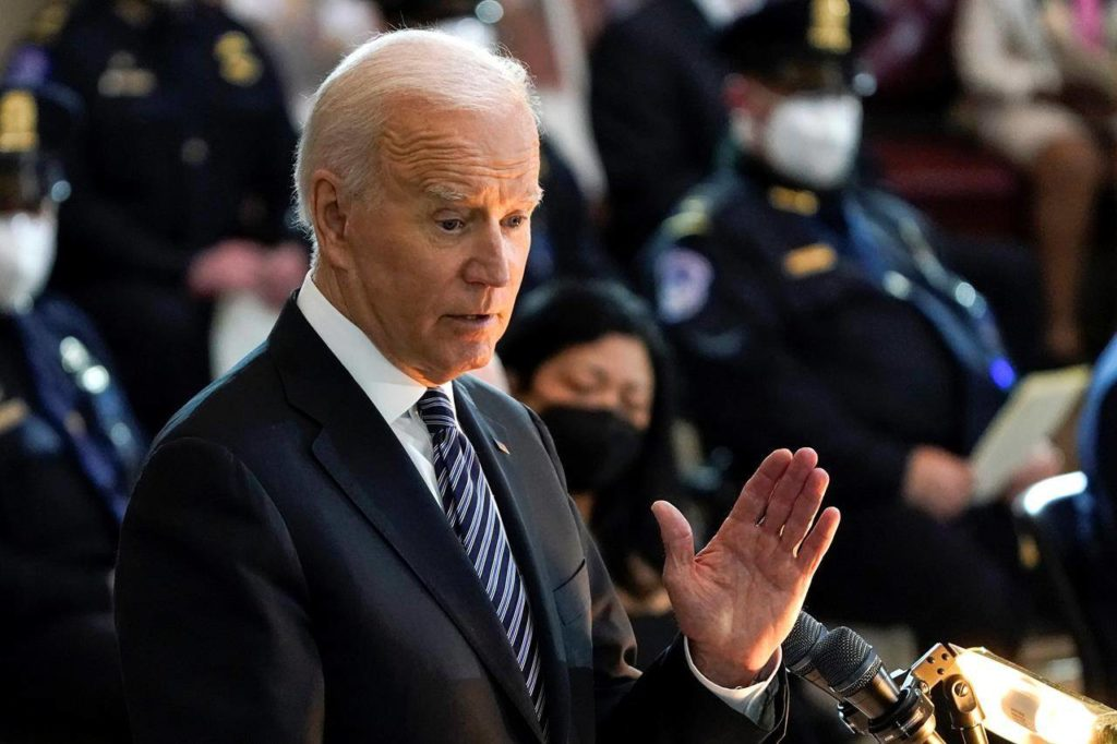 """President Joe Biden speaks during a ceremony to honour slain U.S. Capitol Police officer William """"Billy"""" Evans as he lies in honor at the Capitol in Washington, Tuesday, April 13, 2021. Biden is to start the clock today on the long-awaited withdrawal of all U.S. troops from Afghanistan. THE CANADIAN PRESS/AP/J. Scott Applewhite"""