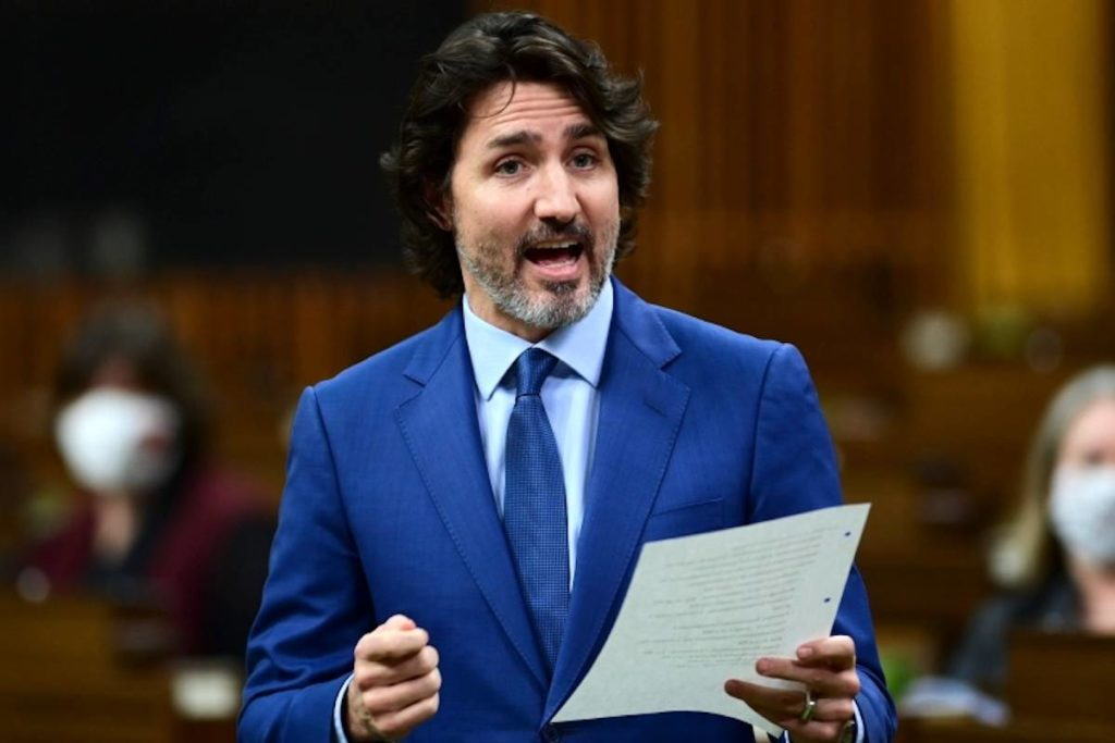 Prime Minister Justin Trudeau rises during question period in the House of Commons on Parliament Hill in Ottawa on Wednesday, Feb. 17, 2021. THE CANADIAN PRESS/Sean Kilpatrick