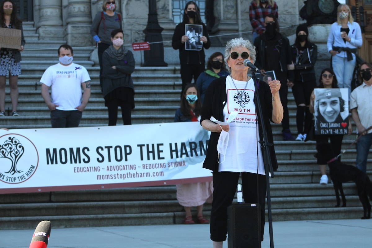 Demonstrators at the legislature on April 14 called on the province to decriminalize drug possession and provide widespread access to regulated safe supply across B.C. (Jake Romphf/News Staff)