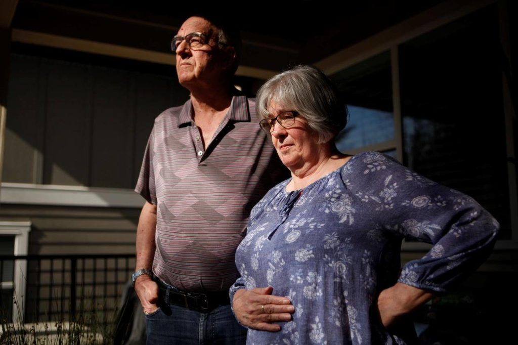 Ron Rauch and his wife Audrey are photographed at their home in Victoria, Friday, March 5, 2021. Their daughter Lisa Rauch died on Christmas Day 2019 when a tactical officer with the Victoria Police Department shot her in the back of the head with plastic bullets after barricading herself in a room that was on fire. THE CANADIAN PRESS/Chad Hipolito