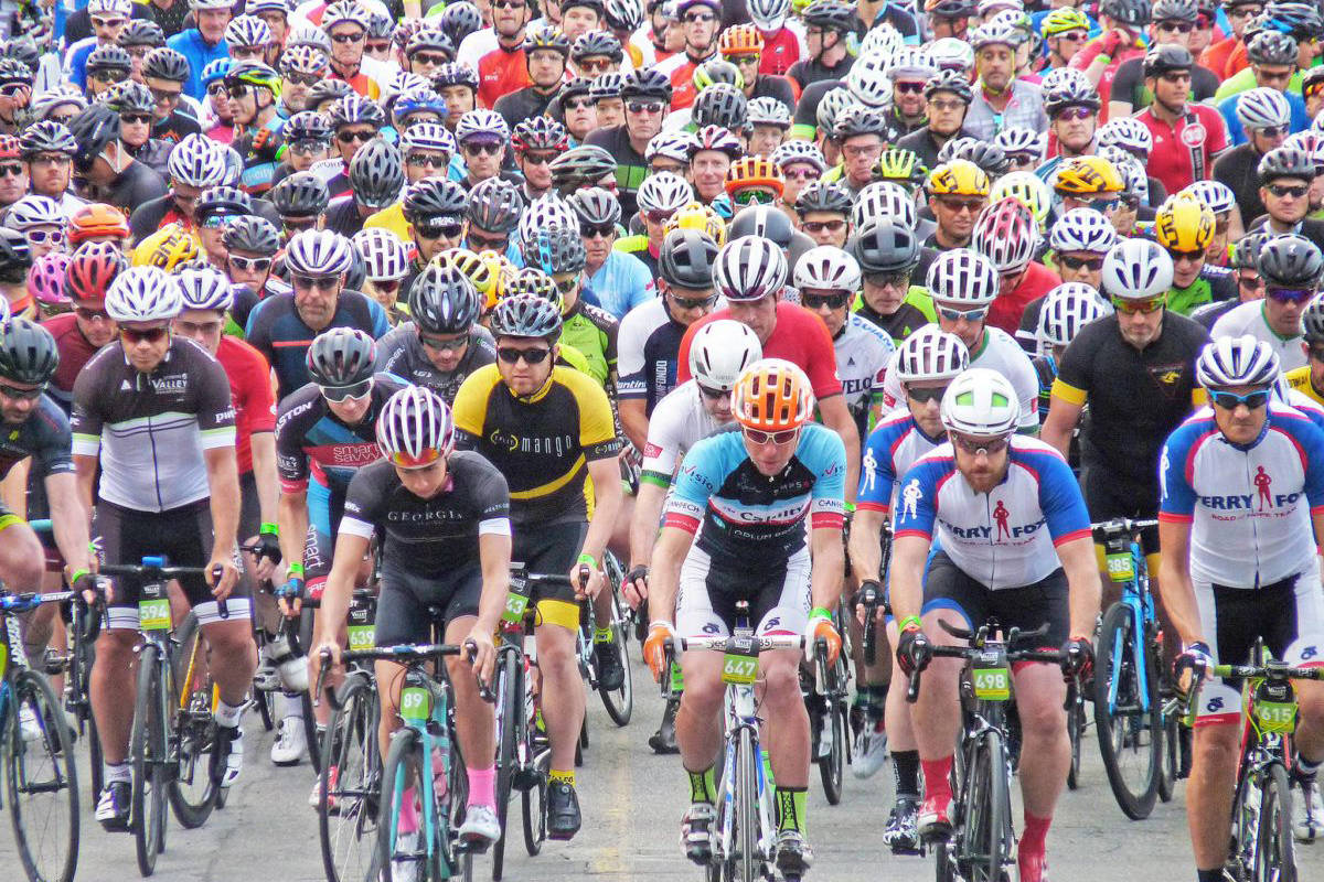 Bike events like the 2018 Valley Granfondo in Fort Langley drew thousands of cyclists. (Langley Advance Times files)