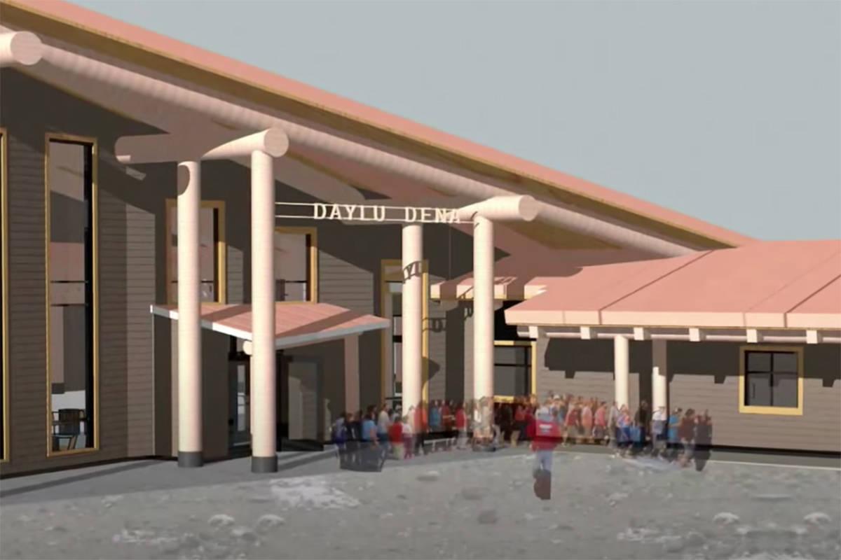 Rendering of the community and cultural centre planned to be built on the site of the former residential school building in Lower Post. (Screenshot/Province of BC YouTube channel)