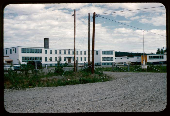 The property on which a residential school (pictured) that was torn down years ago in Lower Post is to be the location of a cultural centre. (Indian Residential School History and Dialogue Centre photo)